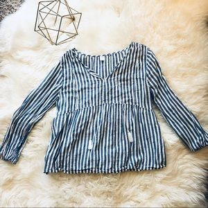 Blue & White Striped Old Navy Peasant Top